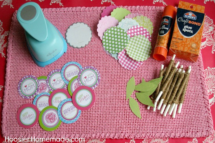 Supplies for Mother's Day Cupcake Toppers