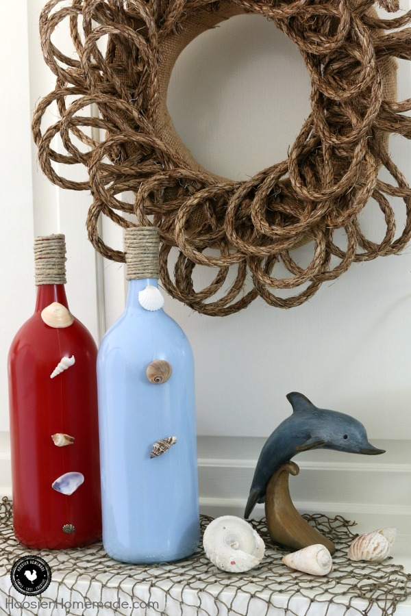 Make these easy Nautical Themed Decorations for your Mantel, Table or even as Party Decorations! Budget Friendly and Simple to make! Bring the beach to your home! Click on the photo for full instructions!