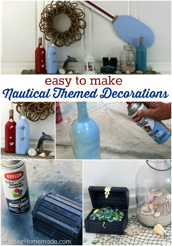 Make these easy Nautical Themed Decorations for your Mantel, Table or even as Party Decorations