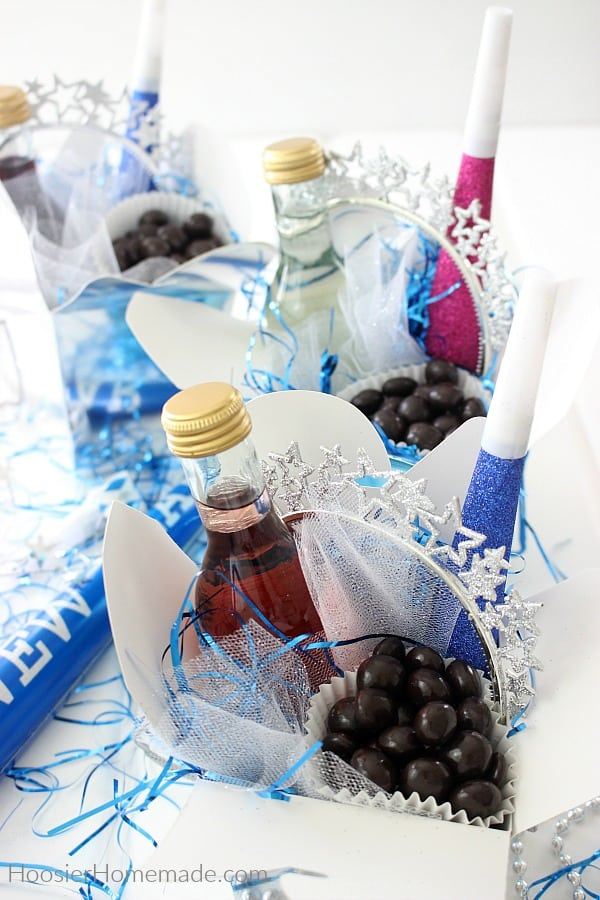 Party Favors with wine for New Year's Eve