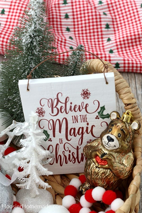 Gift Basket with Christmas ornaments