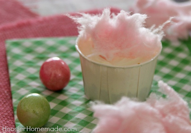Cotton Candy No Bake Mini Cheesecakes :: Recipe on HoosierHomemade.com
