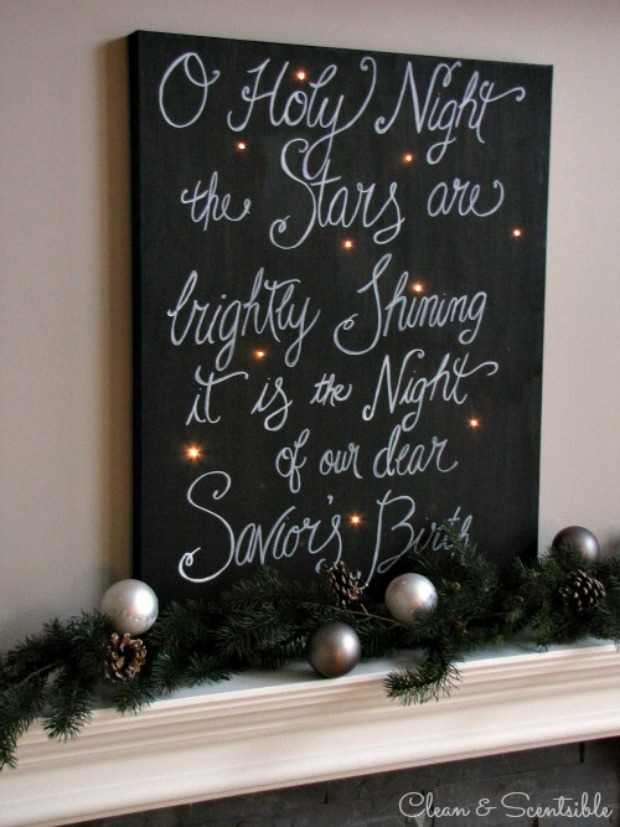 Twinkling Christmas Canvas Art : 100 Days of Homemade Holiday Inspiration on HoosierHomemade.com