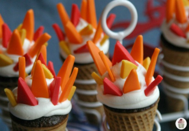 Olympic Torch Cupcakes with Candy Clay Flames | Recipe on HoosierHomemade.com