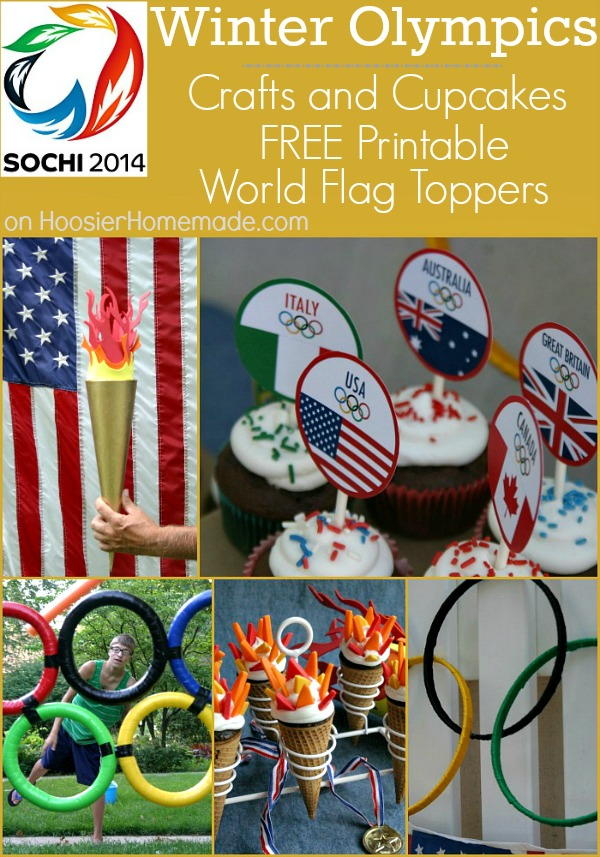Olympics Crafts and Cupcakes | FREE World Flag Toppers | on HoosierHomemade.com