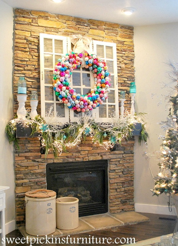 WOW your family and guests will this easy to make Ornament Wreath! Change the colors to match your decor! Visit our 100 Days of Homemade Holiday Inspiration for more recipes, decorating ideas, crafts, homemade gift ideas and much more!
