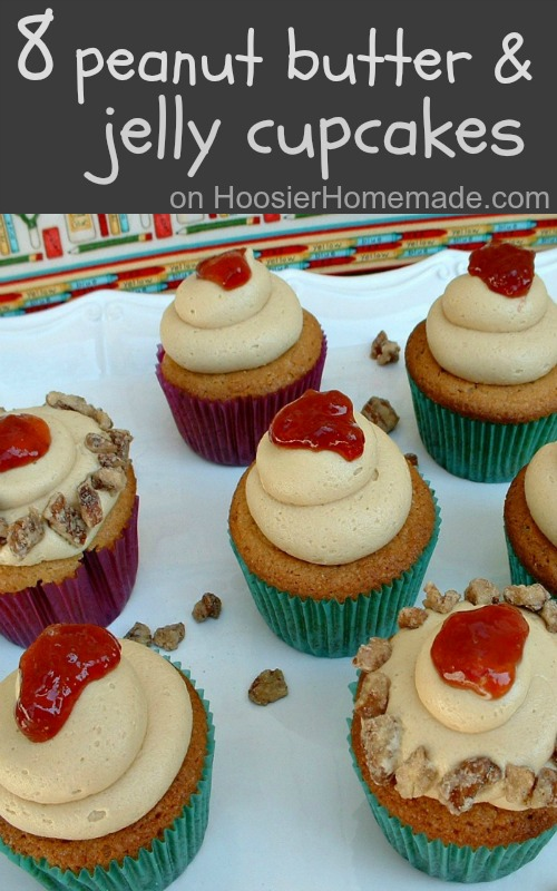 8 Peanut Butter & Jelly Cupcake Recipes :: HoosierHomemade.com