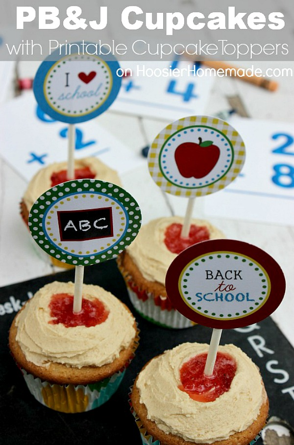 PEANUT BUTTER AND JELLY CUPCAKES -- Celebrate Back to School with these delicious cupcakes + FREE Printable Back to School Cupcake Toppers! OR use the printables for a fun Back to School Teacher Gift!
