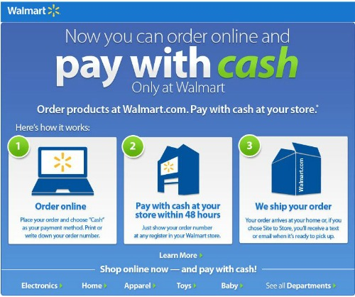 Shop Online At Walmart.com: Pay With Cash