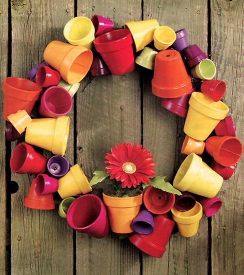 Painted Flower Pot Wreath