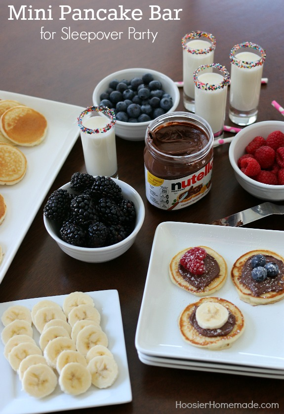 Create this fun and delicious Mini Pancake Bar - it's perfect for a Sleepover or Birthday Party! Even a fun weekend brunch! Pin to your Recipe Board!