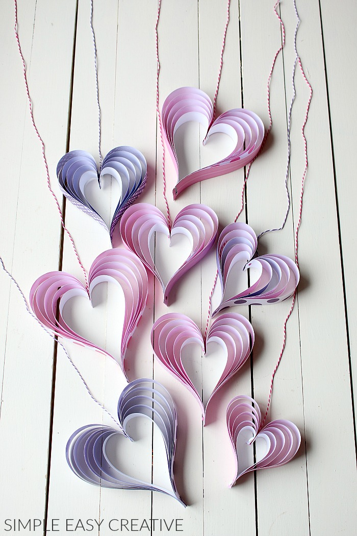 Hang paper hearts with string