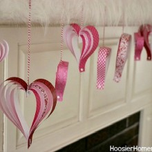 Paper Hearts for Valentine's Day | on HoosierHomemade.com
