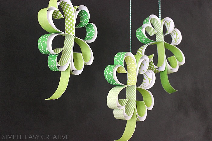 Shamrocks made with paper