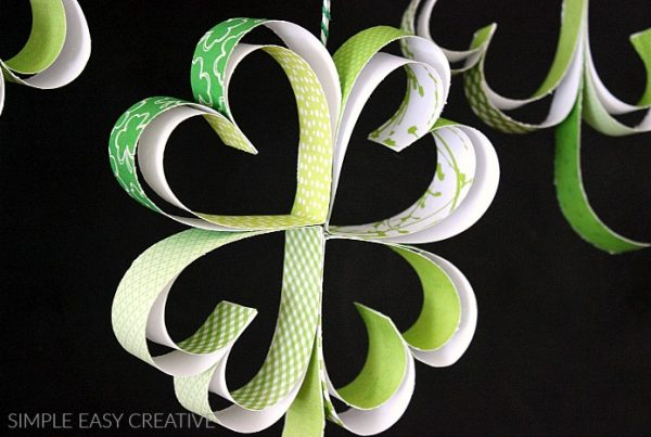 Hang the paper shamrocks with twine