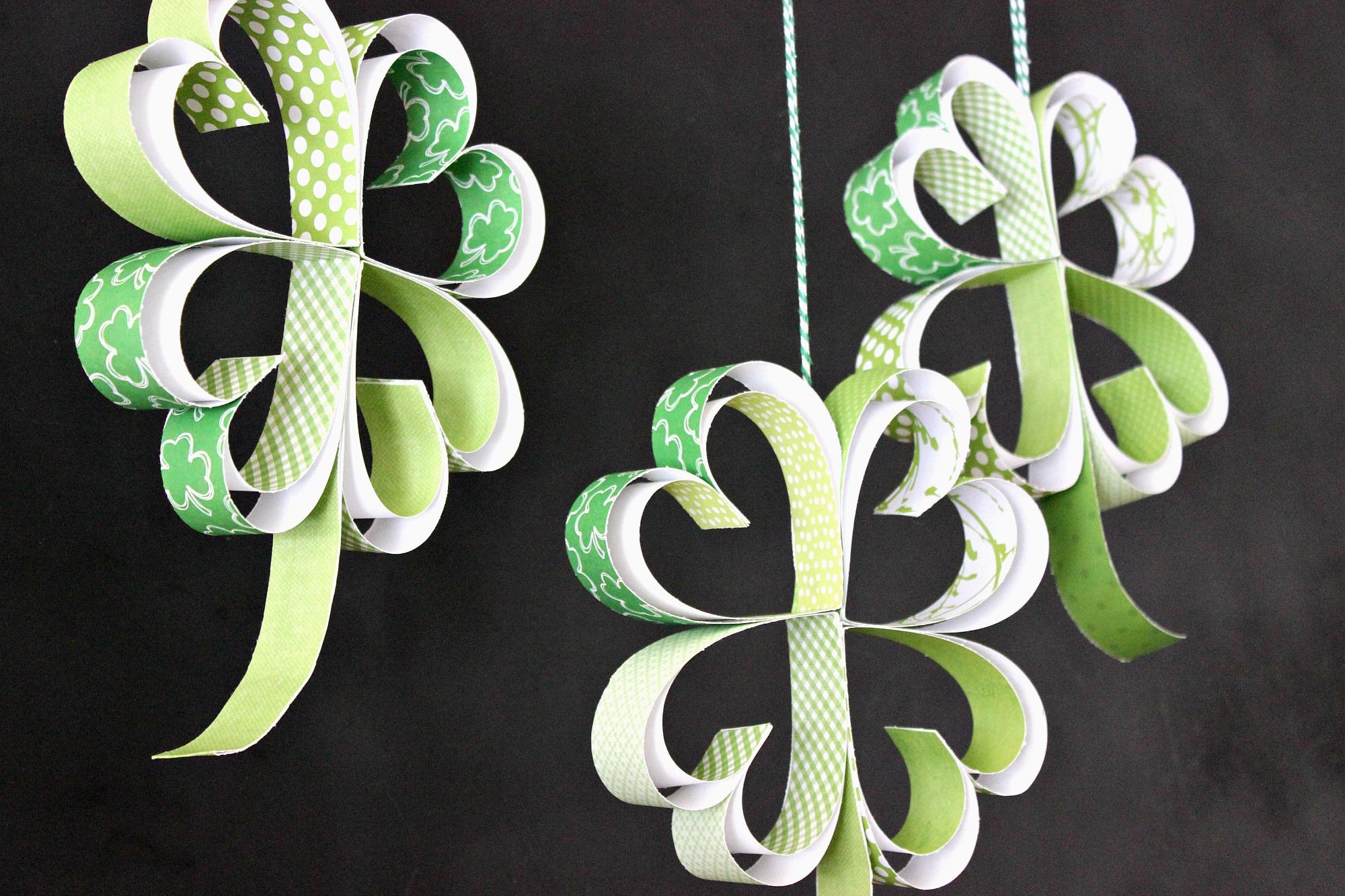 St. Patrick's Day Craft: How to make Paper Shamrocks ...