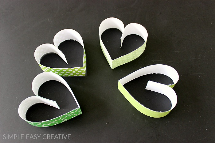 Make 4 hearts for shamrocks