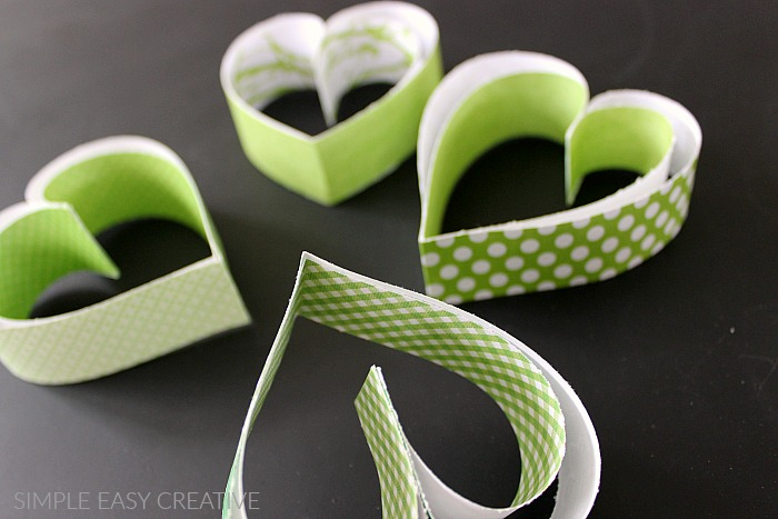Paper hearts with inside strips