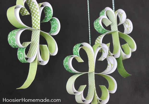 St. Patrick's Day Craft: How to make Paper Shamrocks :: Instructions on HoosierHomemade.com