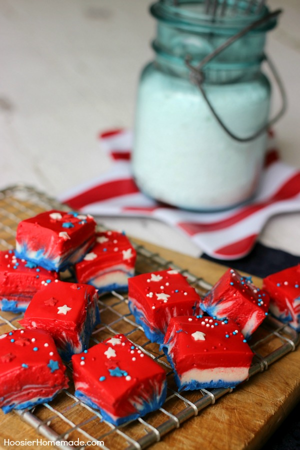 Whip up this Patriotic White Chocolate Fudge with simple ingredients in about 10 minutes and add a festive touch to your 4th of July Dessert.