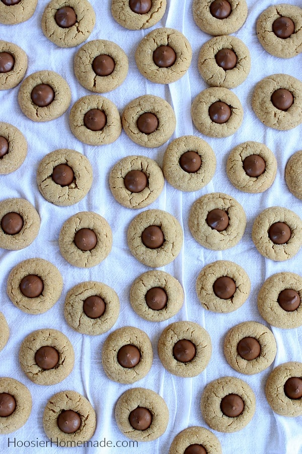 Peanut Butter Blossoms on white cloth