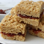 Peanut Butter and Jelly Krispie Treats | Recipe on HoosierHomemade.com