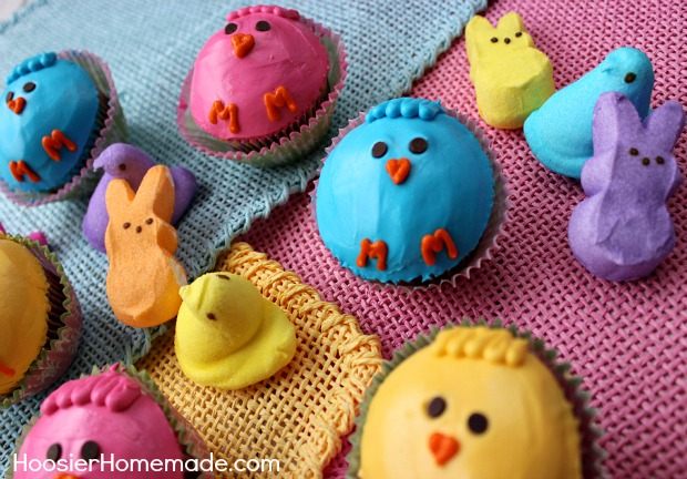 Peeps Cupcakes :: Instructions on HoosierHomemade.com