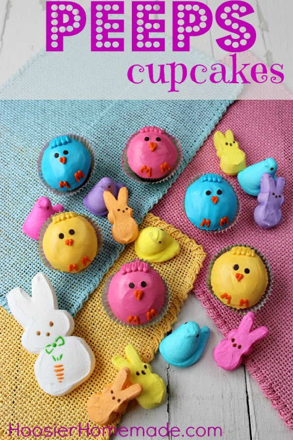 Easter Cupcakes - these darling Peeps Cupcakes are easy to decorate with just 2 ingredients! Pin to your Cupcake Board!