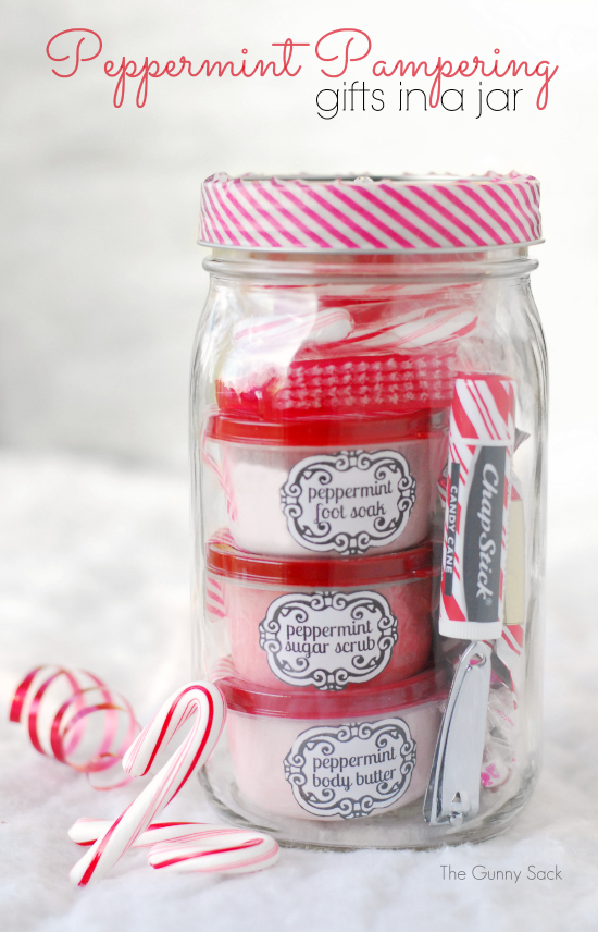Peppermint Pampering Gift In A Jar: 100 Days of Homemade Holiday Inspiration on HoosierHomemade.com