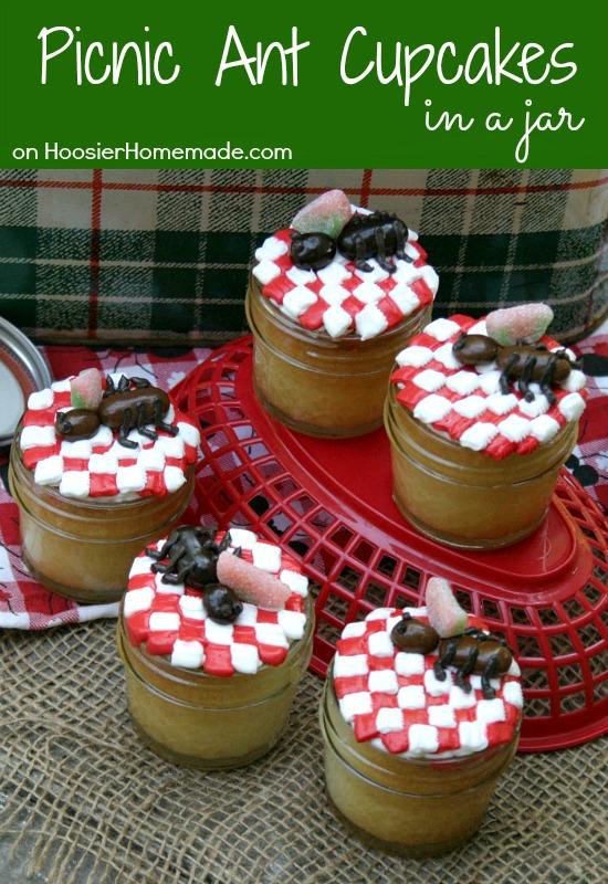 Picnic Ant Cupcakes in Jar | Recipe on HoosierHomemade.com