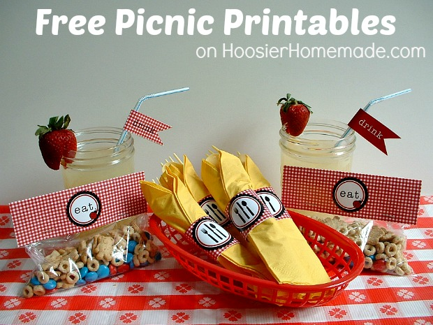 Free Picnic Printables available on HoosierHomemade.com