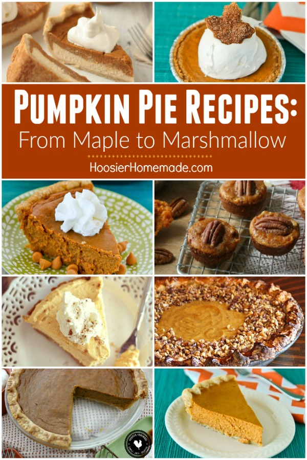 Pumpkin Pie Recipes - perfect for Thanksgiving and the holidays! From individual pumpkin pies to maple to pumpkin pie with toffee topping! We have you covered!