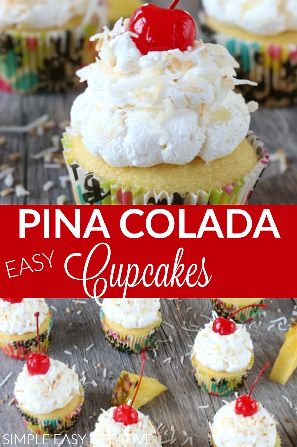 Pina Colada Cupcakes are perfect for summer parties
