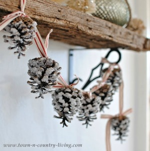 Pine Cone Garland on red ribbon
