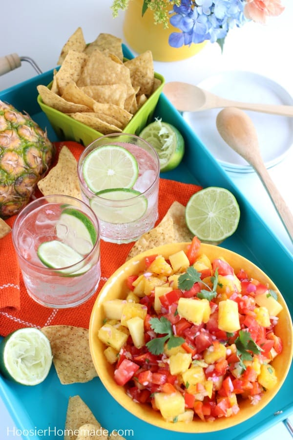 Pineapple Salsa served with tortilla chips