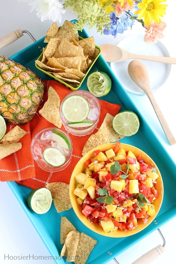 Pineapple Salsa served on a tray