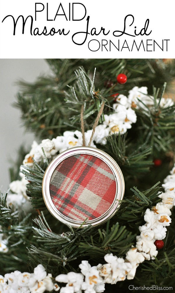 Make these adorable Mason Jar Lid Ornaments for your tree, or add them to packages! Visit our 100 Days of Homemade Holiday Inspiration for more recipes, decorating ideas, crafts, homemade gift ideas and much more!