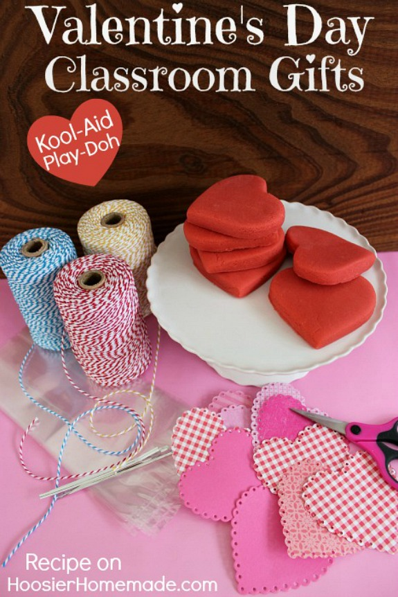 Valentine's Day Classroom Party Gifts - skip the candy and make Homemade Play-Doh - made with ingredients you have in your kitchen! Pin to your Valentine's Day Board!