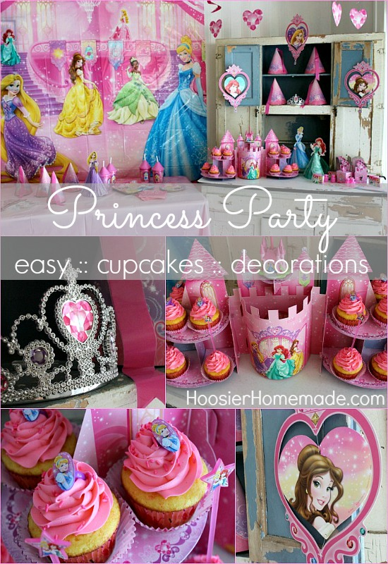 Princess Party With Cupcakes And Decorations On HoosierHomemade