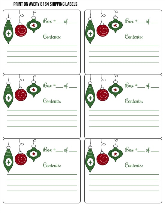Printable Box Labels for Organizing Decorations