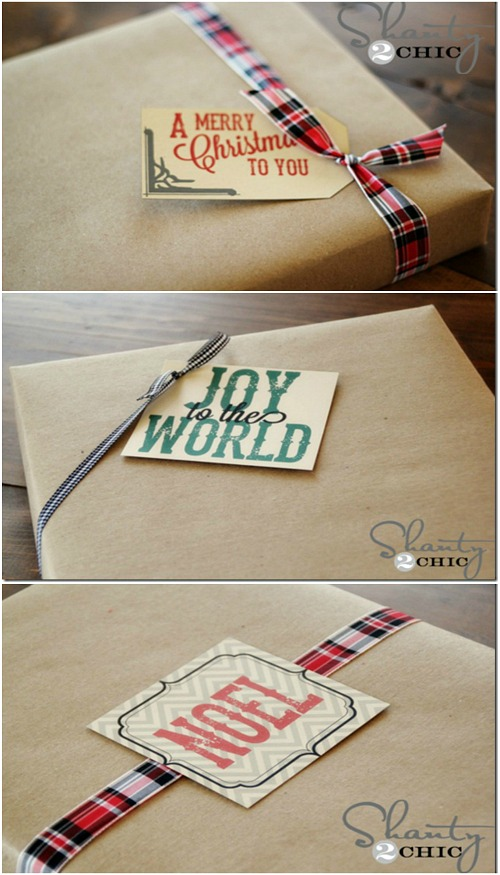 Printable Christmas Gift Tags | 100 Days of Homemade Holiday Inspiration on HoosierHomemade.com