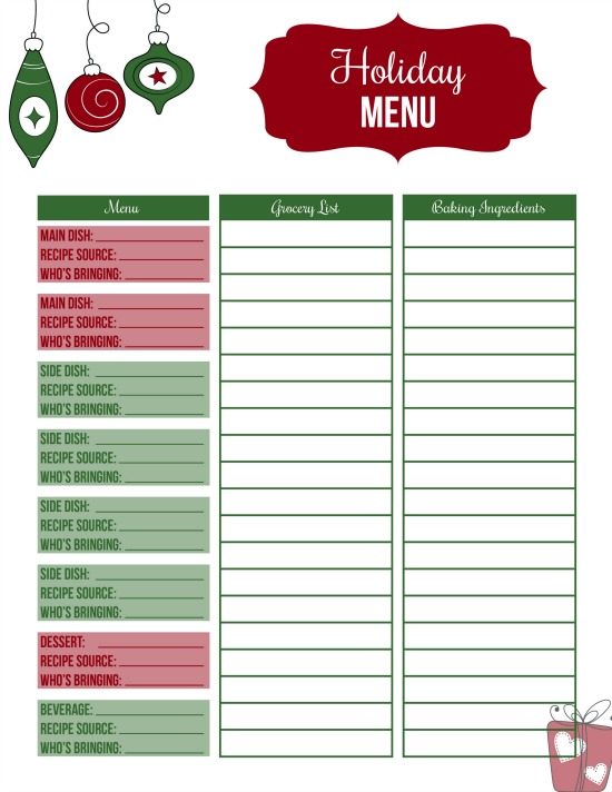 printable holiday menu plan