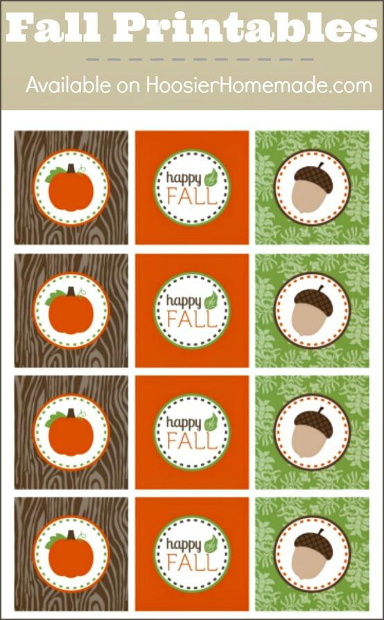 Printable Fall Cupcake Toppers   Available on HoosierHomemade.com