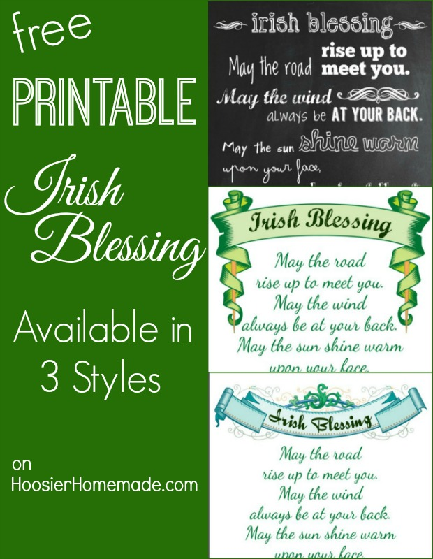 photograph about Printable Irish Blessing named Printable Chalkboard Irish Blessing - Hoosier Handmade