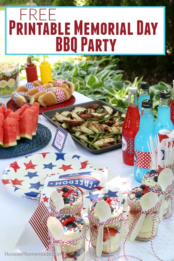 This Printable Memorial Day BBQ Party is FREE! It has Drink Wraps, Paper for Hot Dog Wraps, and Tented Cards to label your recipes! Grab them today!