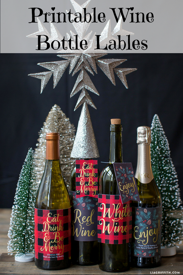 printable holiday wine labels