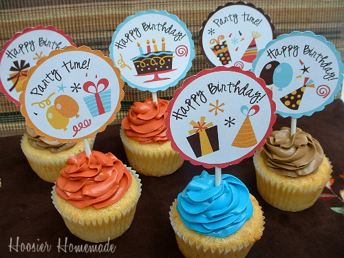 picture regarding Printable Cupcakes Toppers identify Cupcake Toppers ~ Absolutely free Printable - Hoosier Do-it-yourself