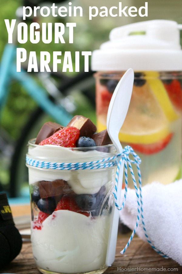 PROTEIN PACKED YOGURT PARFAIT -- Fuel your pre-workout with this EASY to make Yogurt Parfait! Need an afternoon snack but don't want all the calories? This parfait is the answer!