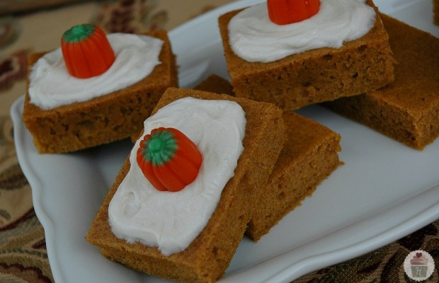 Pumpkin Bars with Cream Cheese Frosting Recipe :: HoosierHomemade.com