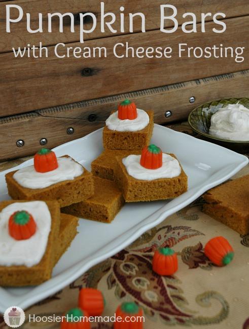 Pumpkin Bars with Cream Cheese Frosting Recipe :: HoosierHomemade.com